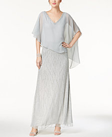 J Kara Beaded Cape Gown