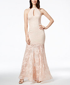 Xscape Sequined Lace Mermaid Halter Gown