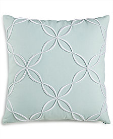 "CLOSEOUT! Charter Club Damask Designs Outline Embroidered 18"" Square Decorative Pillow, Created for Macy's"