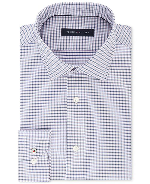 9fdbc9e8 Tommy Hilfiger Men's Slim-Fit Non-Iron Performance Stretch Check Dress Shirt