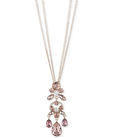 Givenchy Gold-Tone Clear & Pink Crystal Double-Row Pendant Necklace