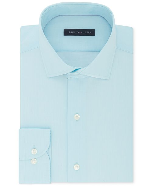 ac154206cfc3 ... Tommy Hilfiger Men s Classic Regular Fit Non-Iron Performance Stretch  Solid Dress ...