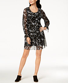 Style & Co Petite Floral-Print Mesh Dress, Created for Macy's