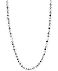 "Giani Bernini 24"" Beaded Chain Necklace in Sterling Silver, Created for Macy's"