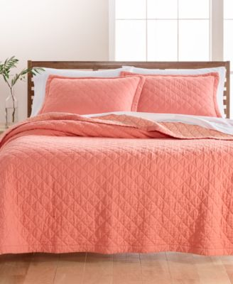 Linen-Cotton Broadstitch Diamonds Twin Quilt, Created for Macy's, Coral
