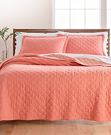 Martha Stewart Collection Linen-Cotton Broadstitch Diamonds Quilt & Sham Collection, Created for Macy's, Coral