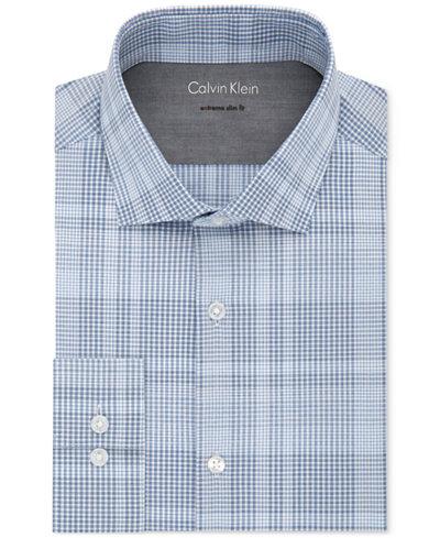 Calvin Klein X Men's Extra-Slim Fit Thermal Stretch Performance Check Dress Shirt