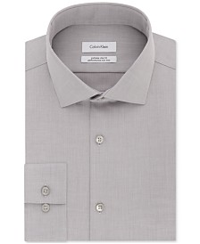 Calvin Klein X Men's STEEL Extra-Slim Fit Non-Iron Performance Herringbone Dress Shirt