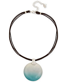 "Robert Lee Morris Soho Silver-Tone Ombré Disc Leather Pendant Necklace, 16"" + 3"" extender"