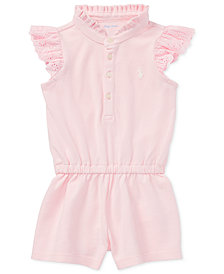 Ralph Lauren Ruffled Cotton Romper, Baby Girls