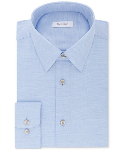 Calvin Klein Men's STEEL Classic/Regular Fit Non-Iron Performance Stretch Pattern Dress Shirt