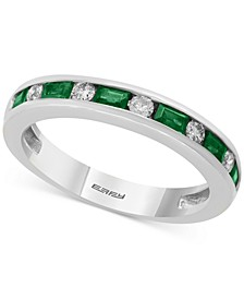 Bridal by EFFY® Emerald (1/2 ct. t.w.) & Diamond (1/6 ct. t.w.) Band in 18k White Gold