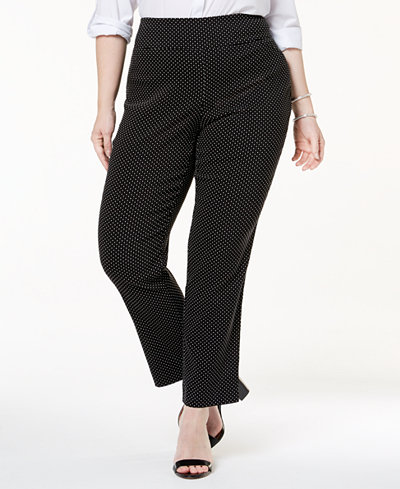 Charter Club Plus Size Tummy Control Dot-Print Pants, Created for Macy's