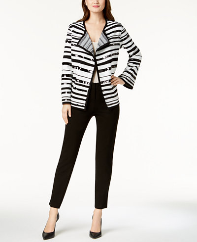 Alfani Embroidered Sweater Jacket & Modern Ponté-Knit Skinny Pants, Created for Macy's