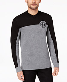 A|X Armani Exchange Men's Two-Tone Textured Logo-Print V-Neck Sweater