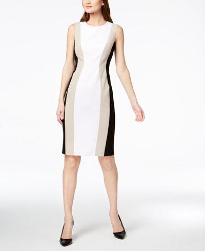 Calvin Klein Colorblocked Sheath Dress, Regular & Petite