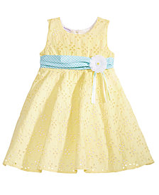 Blueberi Boulevard Eyelet & Ribbon Dress, Little Girls