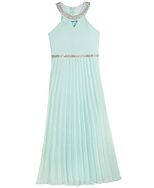 Crystal Doll Pleated Maxi Dress, Big Girls