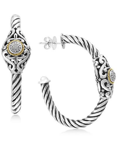 EFFY® Diamond Pavé Cluster Hoop Earrings (1/10 ct. t.w.) in Sterling Silver & 18k Gold