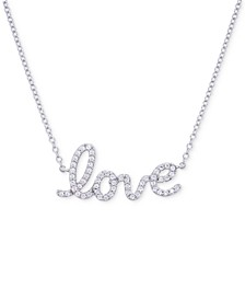 "Diamond Love 17"" Pendant Necklace (1/6 ct. t.w.) in 14k White Gold"