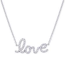 "Diamond Love 17"" Pendant Necklace (1/6 ct. t.w.) in 14k White Gold"