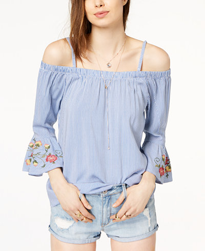Crave Fame Juniors' Embroidered Striped Off-The-Shoulder Ruffle-Sleeved Top