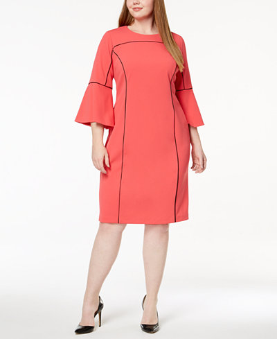 Calvin Klein Plus Size Contrast-Trim Dress