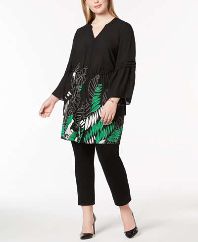 Alfani Plus Size Drawstring-Waist Tunic, Created for Macy's