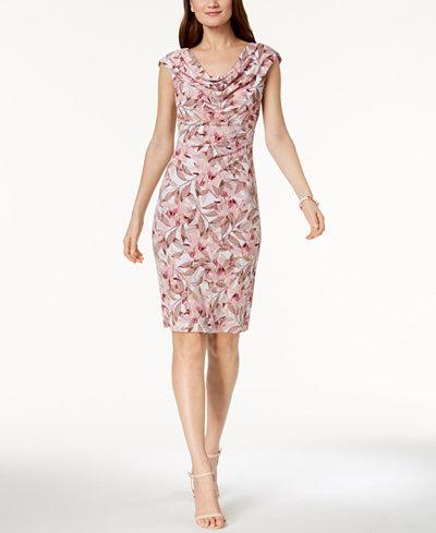 Connected Printed Cowl-Neck Sheath Dress, Regular & Petite Sizes