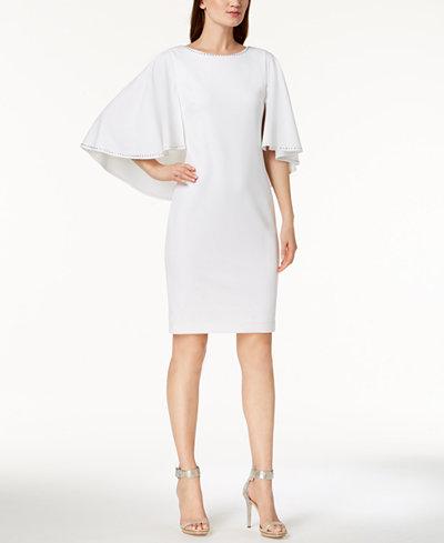 Calvin Klein Embellished Capelet Dress