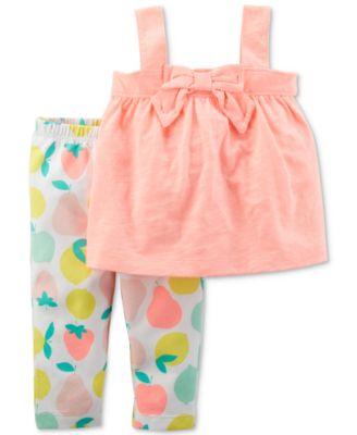2-Pc. Tank Top & Printed Leggings Set, Baby Girls
