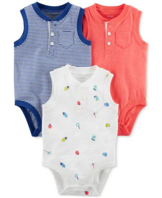 3-Pack Printed Cotton Bodysuits, Baby Boys