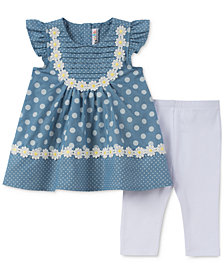 Kids Headquarters 2-Pc. Daisy & Dot Tunic & Leggings Set, Baby Girls