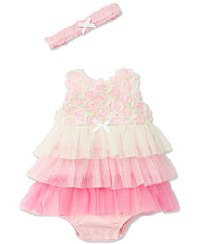 Little Me 2-Pc. Ruffled Popover Bodysuit & Headband Set, Baby Girls