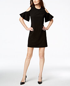 Calvin Klein Cold-Shoulder Scuba Crepe Dress