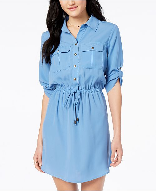 Bop Tab Utility with Shirt Dress Pockets Juniors' Roll Denim Be dfRn0qYwtd