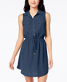 Be Bop Juniors' Sleeveless Drawstring Shirtdress
