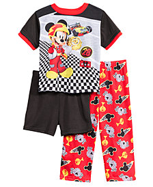 Disney's® Mickey Mouse 3-Pc. Racing Pajama Set, Toddler Boys