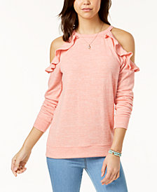 Ultra Flirt Juniors' Ruffle-Trimmed Cold-Shoulder Sweatshirt