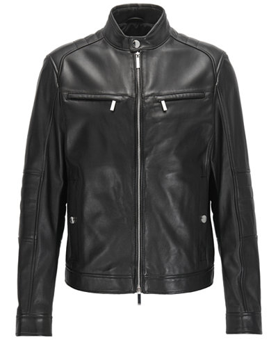BOSS Men's Leather Moto Jacket