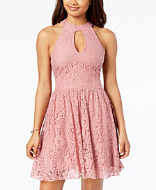 Speechless Juniors' Cutout Lace Fit & Flare Dress
