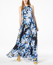 I.N.C. Petite Floral-Print Halter Maxi Dress, Created for Macy's