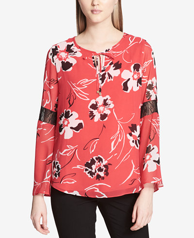 Calvin Klein Printed Lace-Inset Top