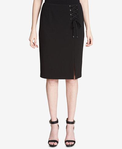 Calvin Klein Lace-Up Pencil Skirt