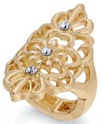 Thalia Sodi GoldTone Crystal Filigree Ring Created for Macys