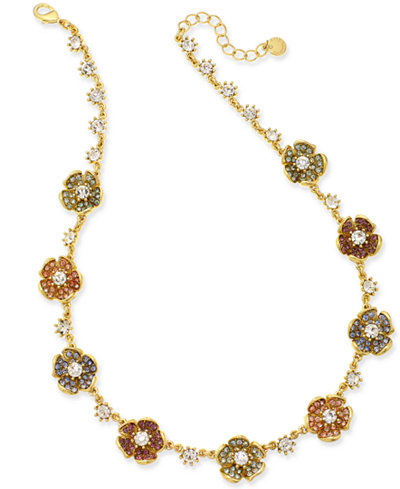 Charter Club Gold-Tone Multi-Stone Flower Necklace, 18