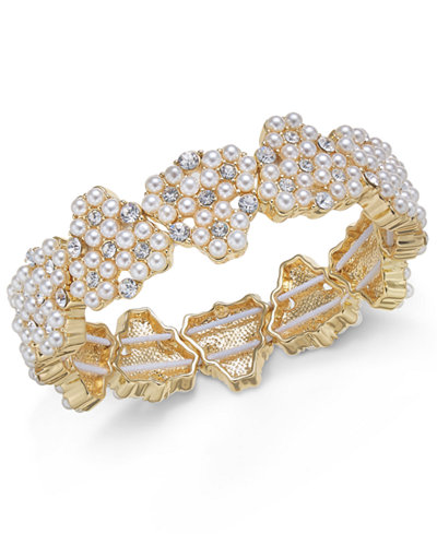 Charter Club Gold-Tone Crystal & Imitation Pearl Stretch Bracelet, Created for Macy's