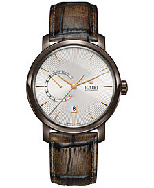 Rado Men's Swiss Automatic XL DiaMaster Brown Vintage Leather Strap Watch 43mm