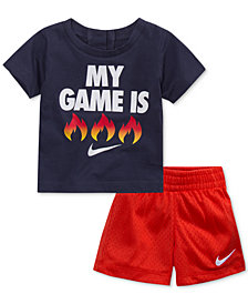 Nike 2-Pc. Fire-Print T-Shirt & Shorts Set, Little Boys