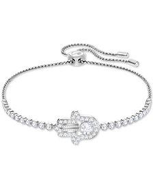 Swarovski Silver-Tone Crystal Hamsa Hand Slider Bracelet